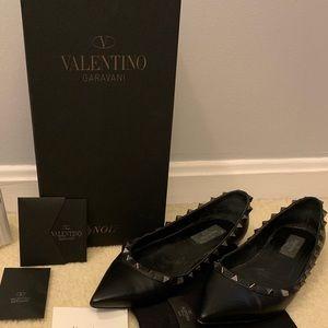 Valentino Shoes - Valentino Rockstud Noir Flats